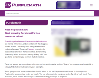"a reduced-size ""screen shot"" of Purplemath's home page"